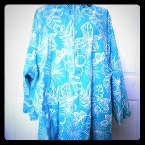 Women's size 6X cotton jacket aqua and white